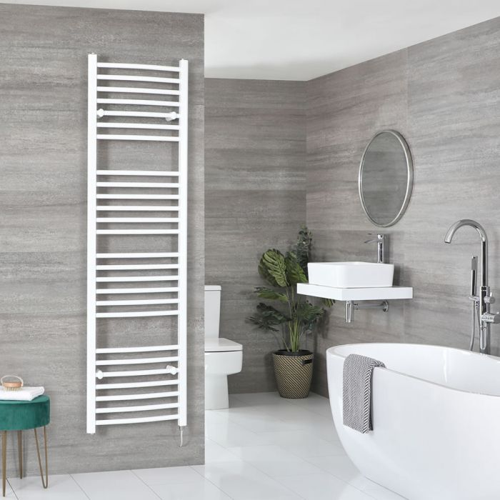 Milano Ive Electric - Curved White Heated Towel Rail 1800mm x 500mm