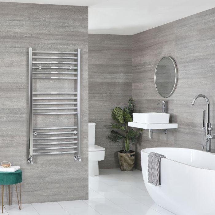 Milano Kent - Curved Chrome Heated Towel Rail 1200mm x 600mm