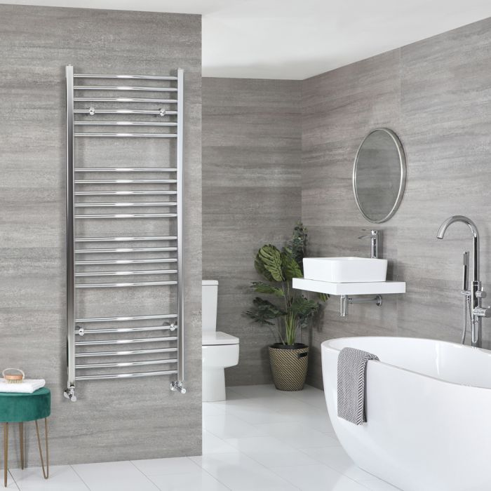 Milano Kent - Curved Chrome Heated Towel Rail 1600mm x 600mm