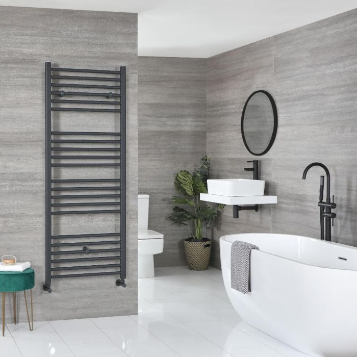 Milano Artle - Curved Anthracite Heated Towel Rail - Various Sizes