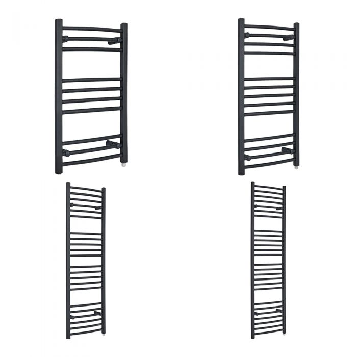 Milano Artle Electric - Curved Anthracite Heated Towel Rail - Various Sizes and Choice of Element