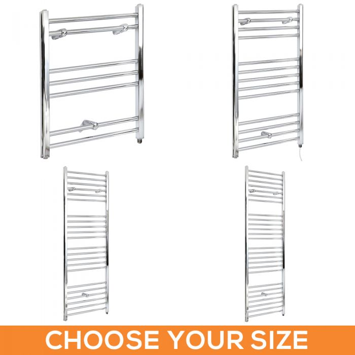 Milano Kent Electric - Flat Chrome Heated Towel Rail - Various Sizes