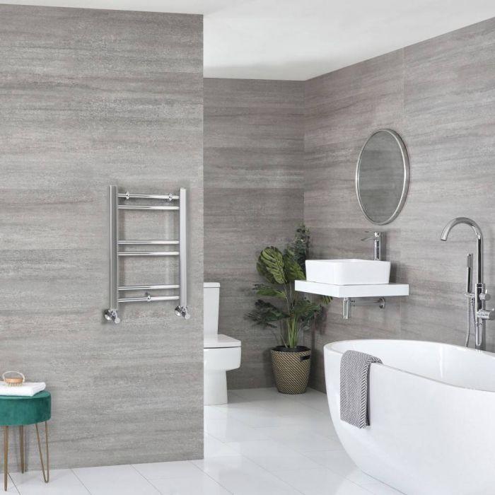 Milano Kent - Flat Chrome Heated Towel Rail 600mm x 400mm