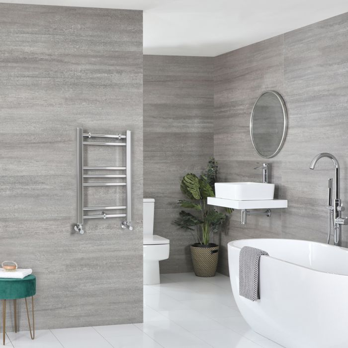 Milano Kent - Flat Chrome Heated Towel Rail 600mm x 400mm