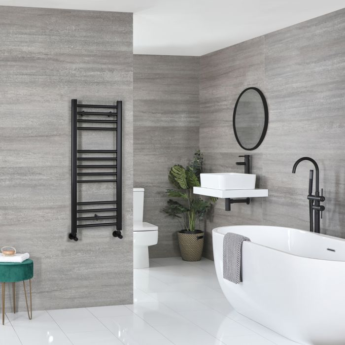 Milano Nero - Flat Matt Black Heated Towel Rail 1000mm x 400mm