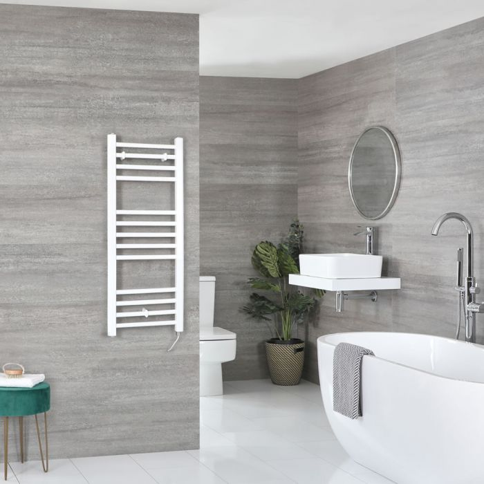 Milano Ive Electric - Flat White Heated Towel Rail 1000mm x 400mm