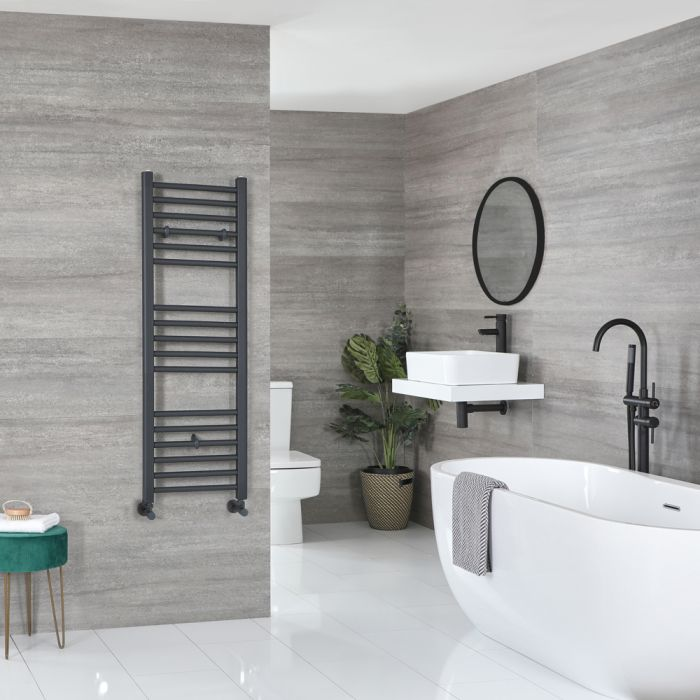 Milano Artle - Flat Anthracite Heated Towel Rail 1200mm x 400mm
