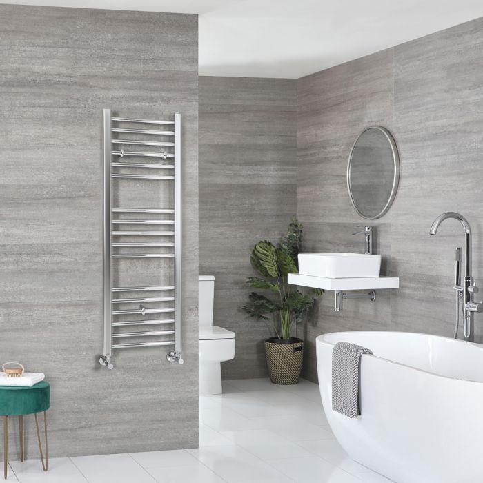 Milano Kent - Flat Chrome Heated Towel Rail 1200mm x 400mm