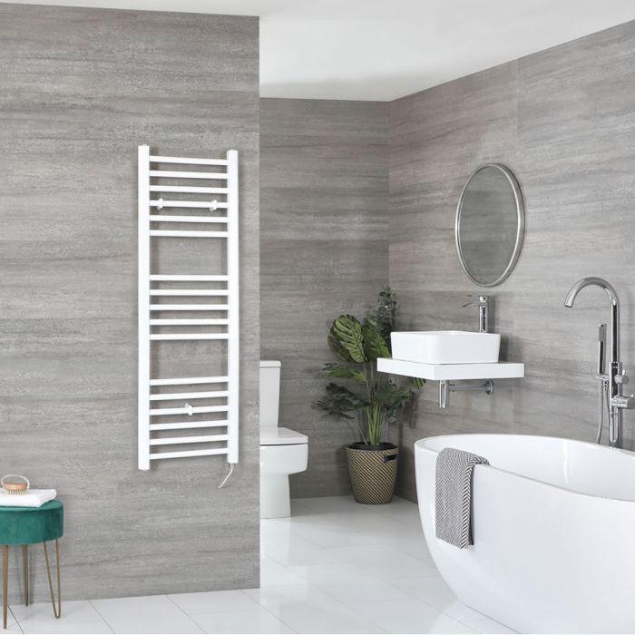 Milano Ive Electric - Flat White Heated Towel Rail 1200mm x 400mm