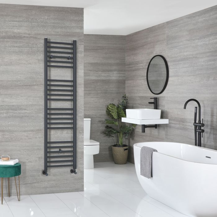 Milano Artle - Flat Anthracite Heated Towel Rail 1600mm x 400mm