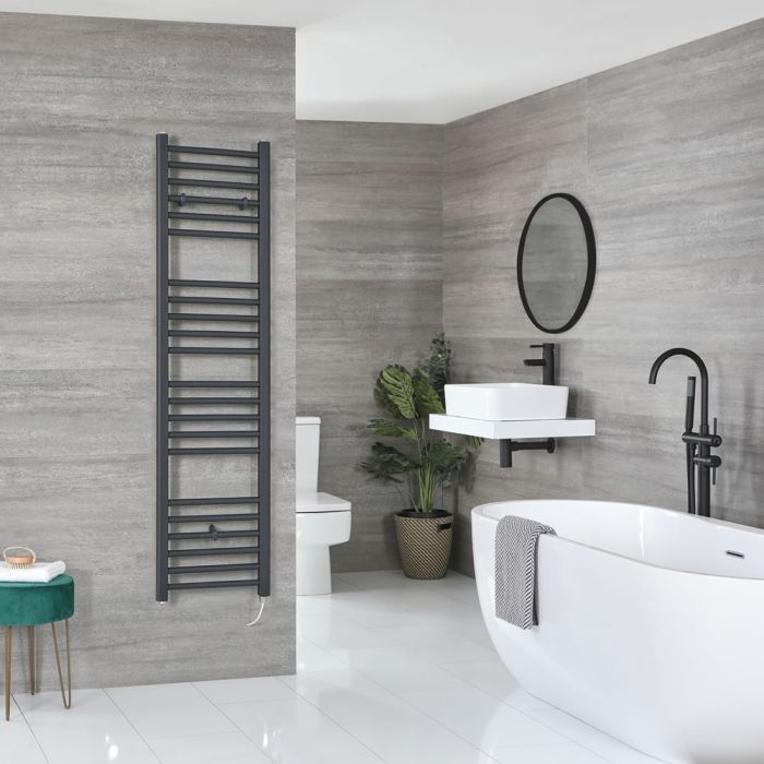 Milano Artle Electric - Flat Anthracite Heated Towel Rail 1600mm x 400mm