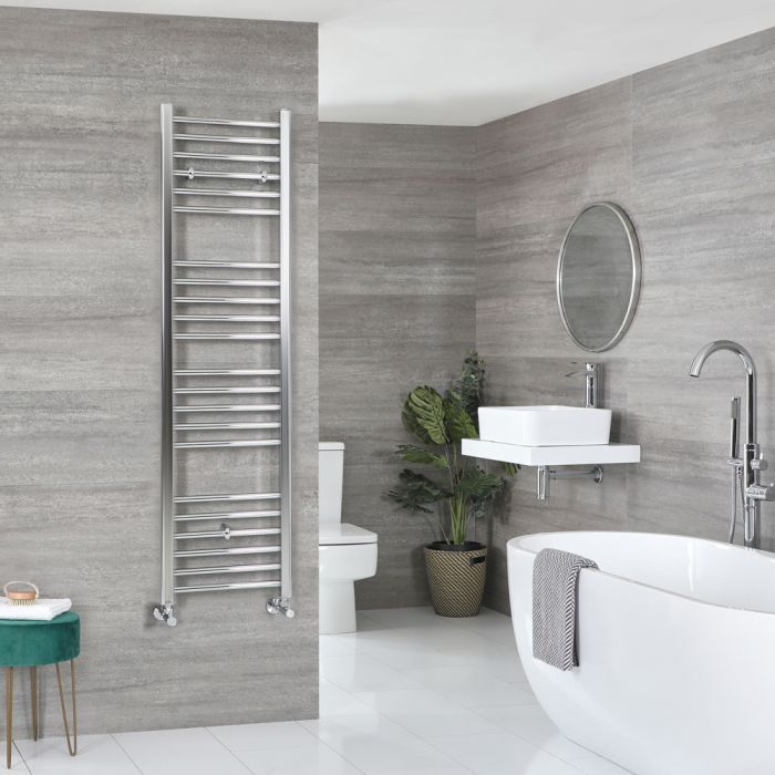 Milano Kent - Flat Chrome Heated Towel Rail 1600mm x 400mm