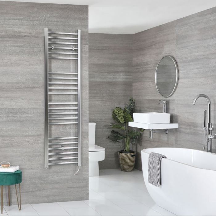 Milano Kent Electric - Flat Chrome Heated Towel Rail 1600mm x 400mm