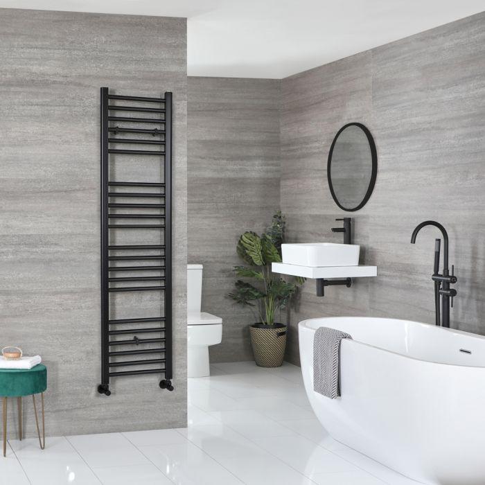 Milano Nero - Flat Matt Black Heated Towel Rail 1600mm x 400mm