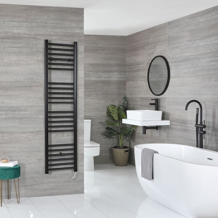 Milano Nero Electric - Flat Matt Black Heated Towel Rail 1600mm x 400mm