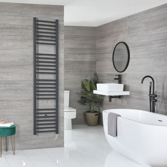 Milano Artle Electric - Flat Anthracite Heated Towel Rail 1800mm x 400mm