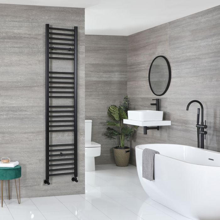 Milano Nero - Flat Matt Black Heated Towel Rail 1800mm x 400mm