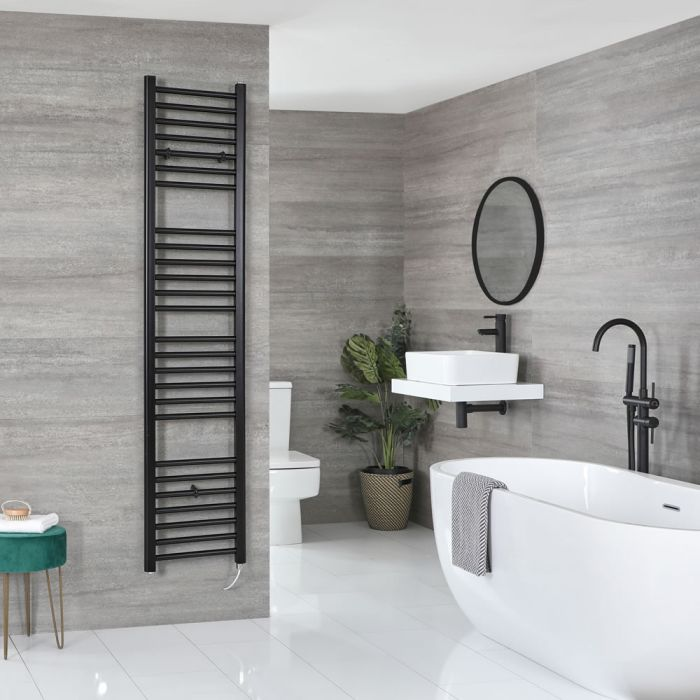 Milano Nero Electric - Flat Matt Black Heated Towel Rail 1800mm x 400mm