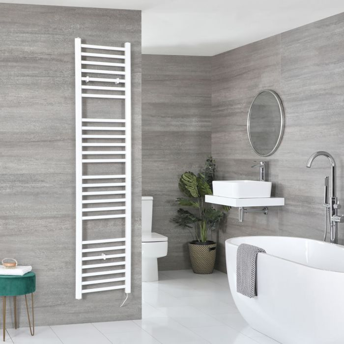Milano Ive Electric - Flat White Heated Towel Rail 1800mm x 400mm