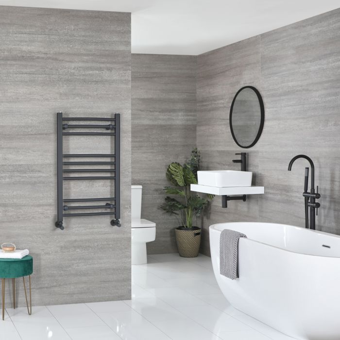 Milano Artle - Flat Anthracite Heated Towel Rail 800mm x 500mm