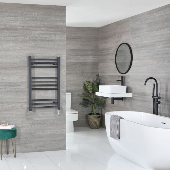 Milano Artle Electric - Flat Anthracite Heated Towel Rail 800mm x 500mm