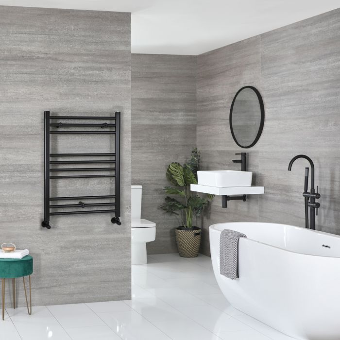 Milano Nero - Flat Matt Black Heated Towel Rail 800mm x 500mm