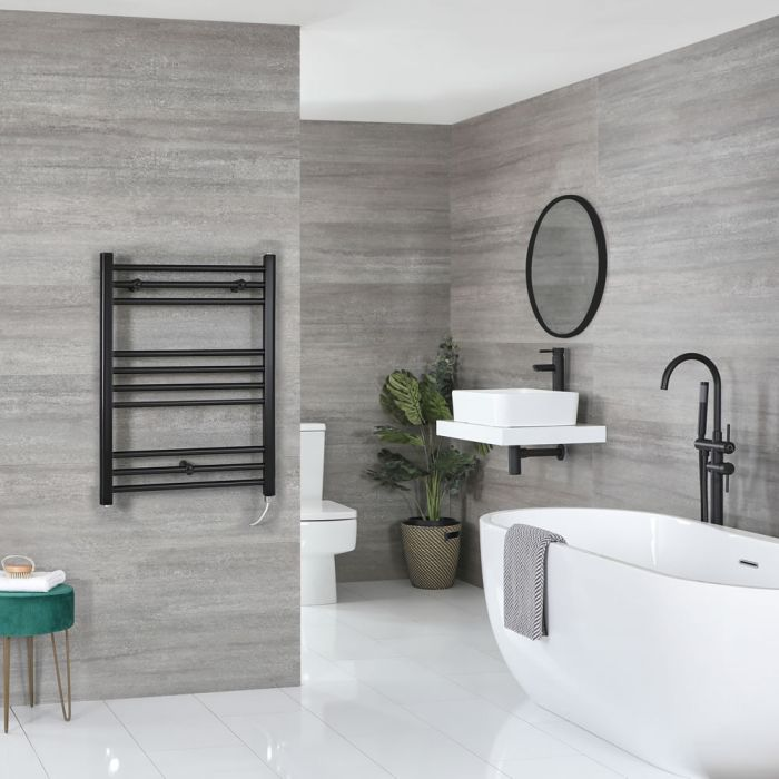 Milano Nero Electric - Flat Matt Black Heated Towel Rail 800mm x 500mm