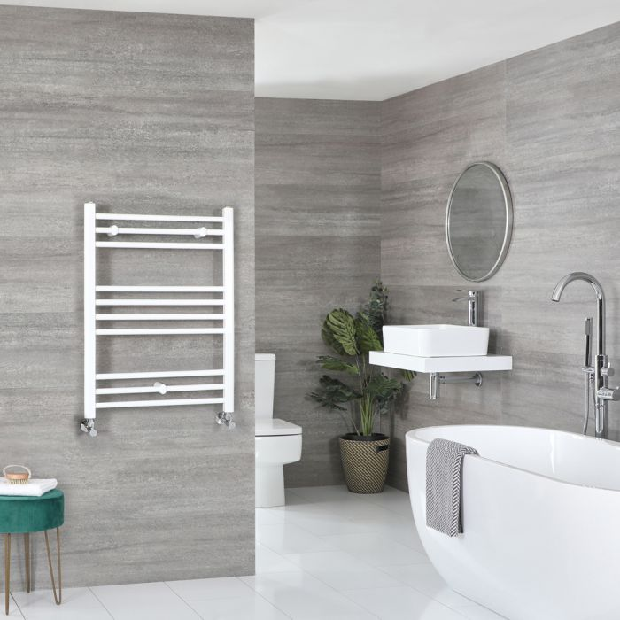Milano Ive - Flat White Heated Towel Rail 800mm x 500mm