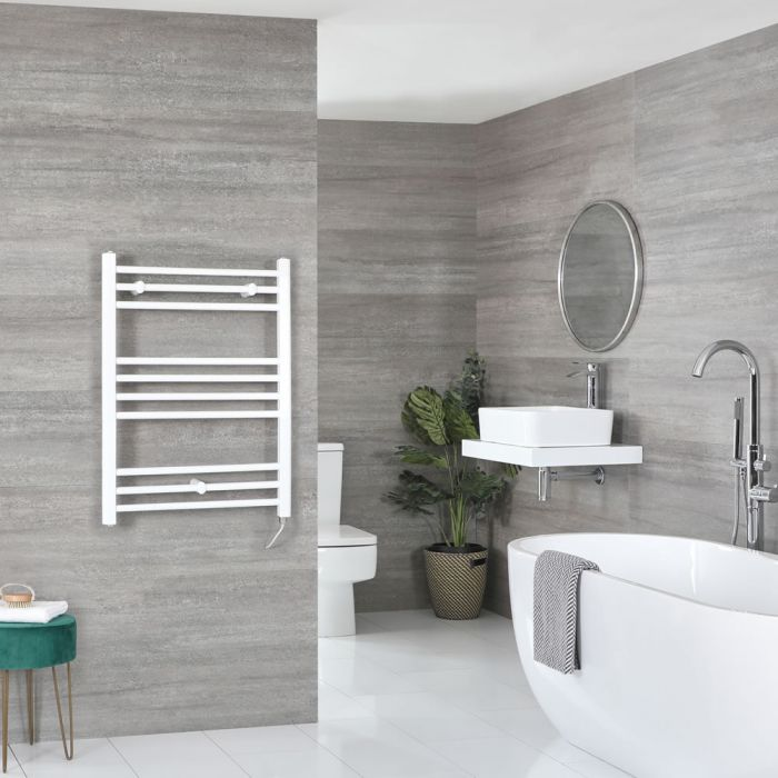 Milano Ive Electric - Flat White Heated Towel Rail 800mm x 500mm