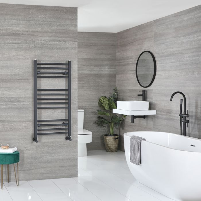 Milano Artle - Flat Anthracite Heated Towel Rail 1000mm x 500mm