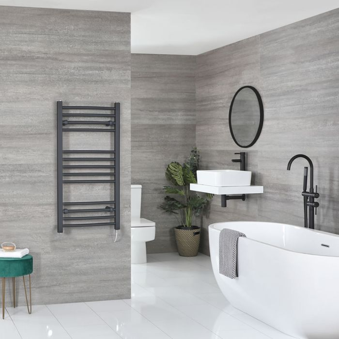 Milano Artle Electric - Flat Anthracite Heated Towel Rail 1000mm x 500mm