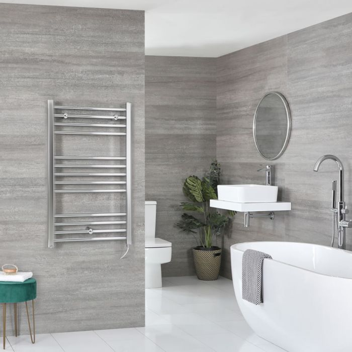 Milano Kent Electric - Flat Chrome Heated Towel Rail 1000mm x 500mm
