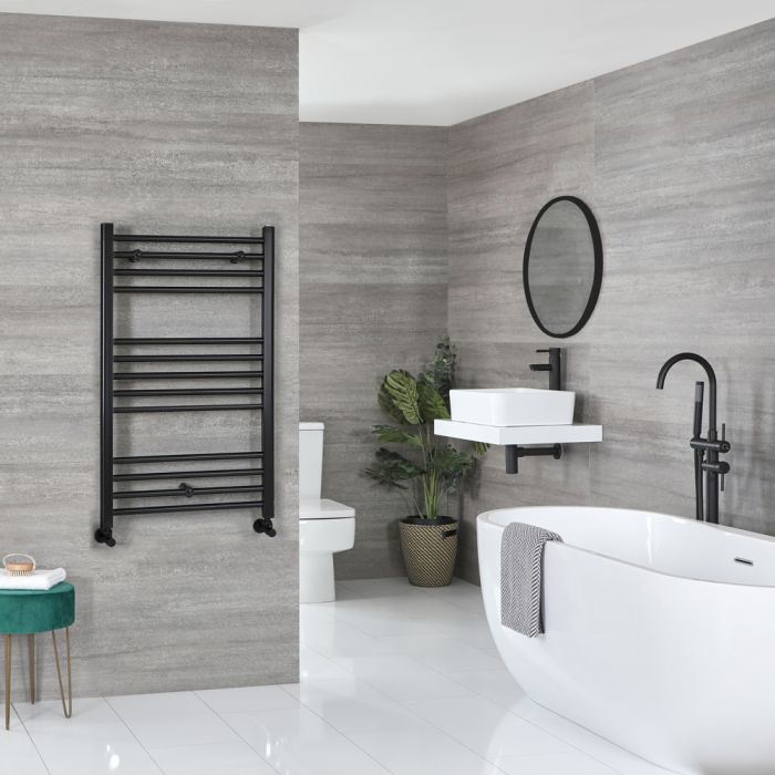 Milano Nero - Flat Matt Black Heated Towel Rail 1000mm x 500mm