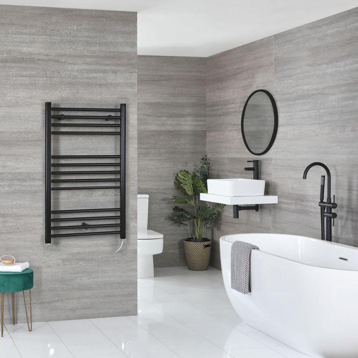 Milano Nero Electric - Flat Matt Black Heated Towel Rail 1000mm x 500mm