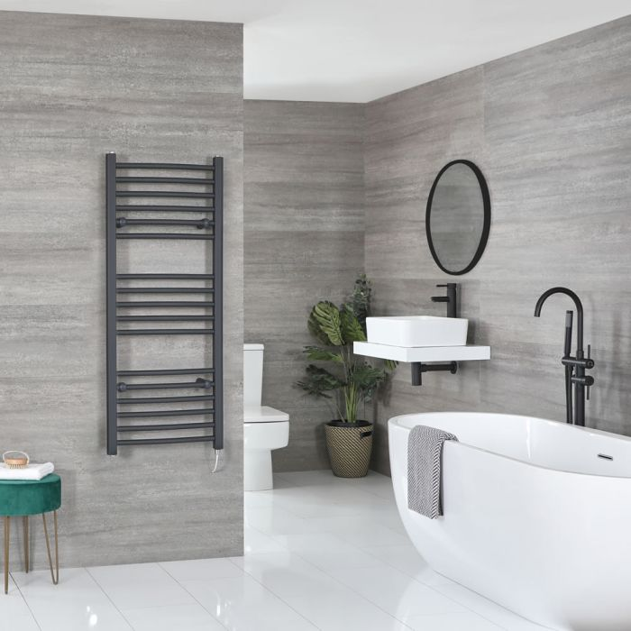 Milano Artle Electric - Flat Anthracite Heated Towel Rail 1200mm x 500mm