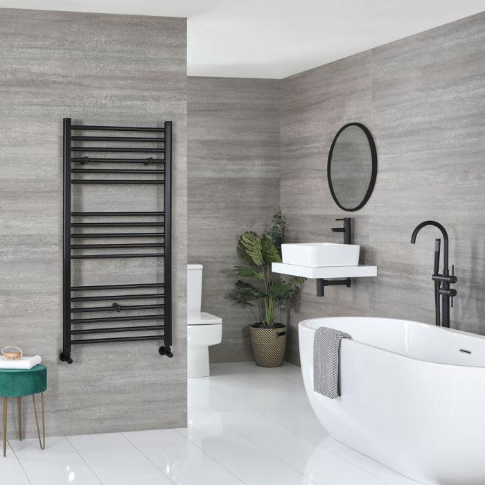 Milano Nero - Flat Matt Black Heated Towel Rail 1200mm x 500mm