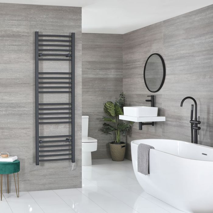 Milano Artle Electric - Flat Anthracite Heated Towel Rail 1600mm x 500mm