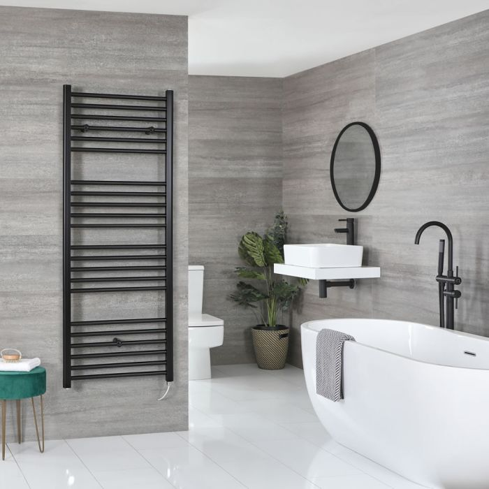 Milano Nero Electric - Flat Matt Black Heated Towel Rail 1600mm x 500mm