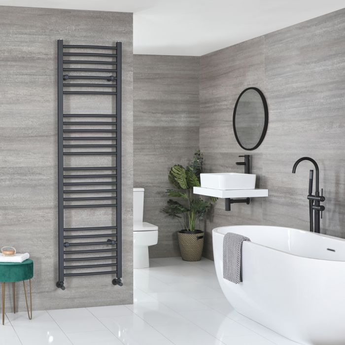 Milano Artle - Flat Anthracite Heated Towel Rail 1800mm x 500mm