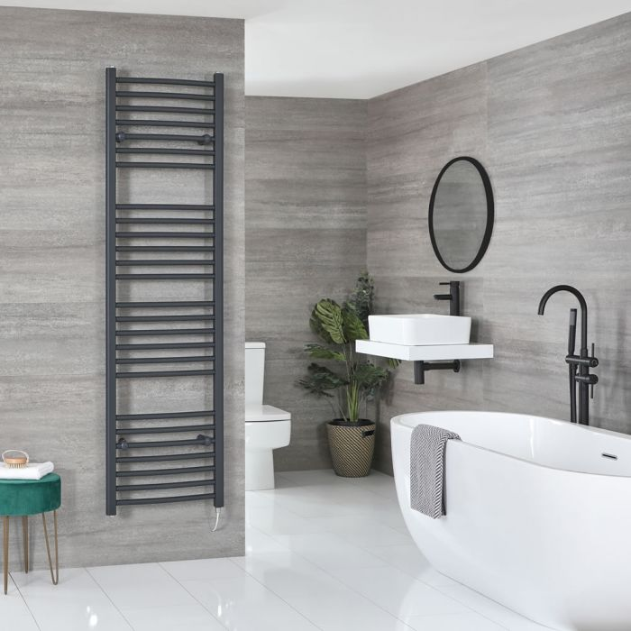 Milano Artle Electric - Flat Anthracite Heated Towel Rail 1800mm x 500mm