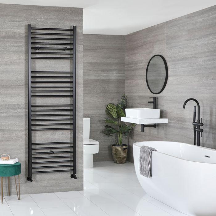 Milano Nero - Flat Matt Black Heated Towel Rail 1800mm x 500mm