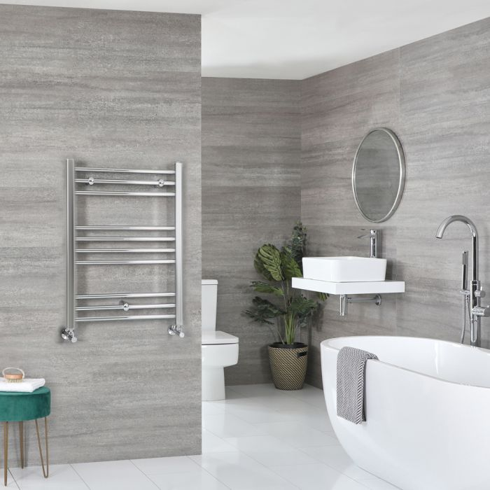 Milano Kent - Flat Chrome Heated Towel Rail 800mm x 600mm