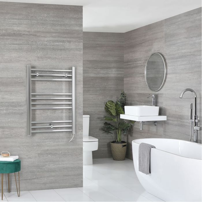 Milano Kent Electric - Flat Chrome Heated Towel Rail 800mm x 600mm
