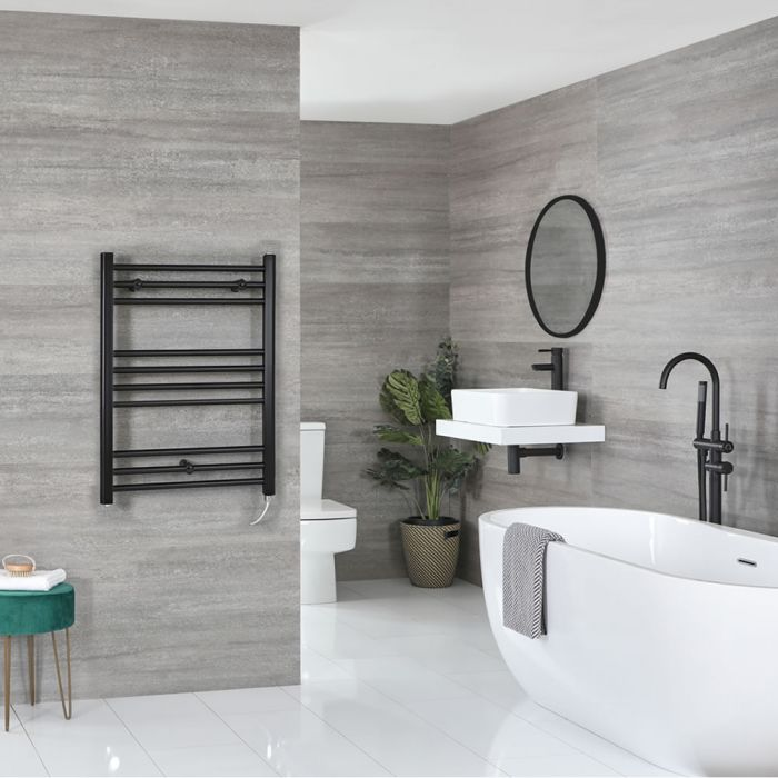 Milano Nero Electric - Flat Matt Black Heated Towel Rail 800mm x 600mm