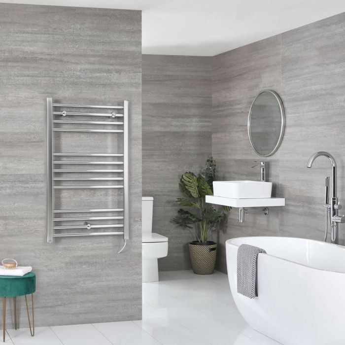 Milano Kent Electric - Flat Chrome Heated Towel Rail 1000mm x 600mm