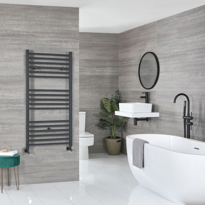 Milano Artle - Flat Anthracite Heated Towel Rail 1200mm x 600mm