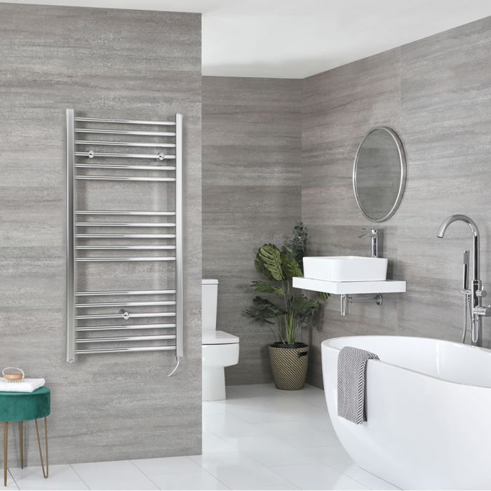 Milano Kent Electric - Flat Chrome Heated Towel Rail 1200mm x 600mm