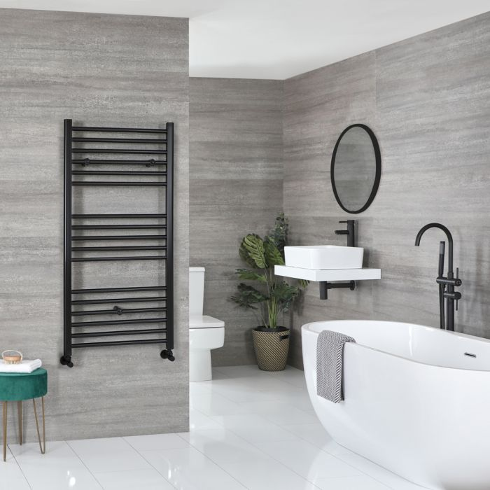Milano Nero - Flat Matt Black Heated Towel Rail 1200mm x 600mm