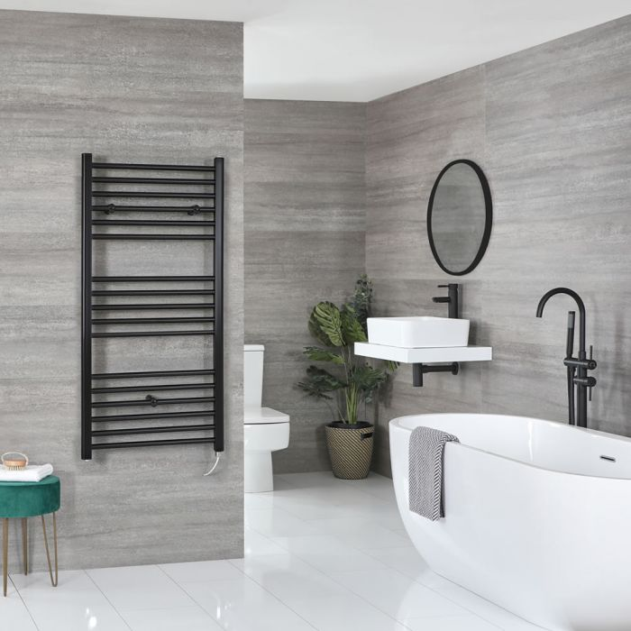 Milano Nero Electric - Flat Matt Black Heated Towel Rail 1200mm x 600mm