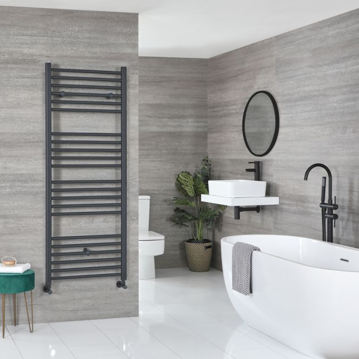 Milano Artle - Flat Anthracite Heated Towel Rail 1600mm x 600mm
